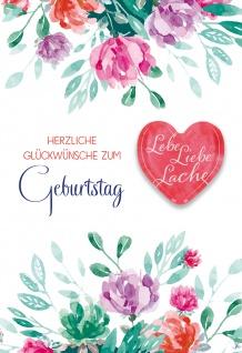 Glückwunschkarte Geburtstag Glas-Magnet 5 St Kuvert Herz Blumen Freude