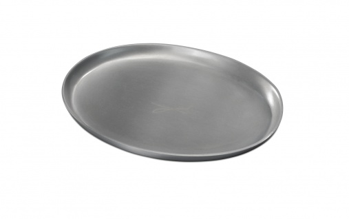 Kerzenteller Aluminium silberfarben oval 9 x 12 cm für Tischkerzen Altarkerzen