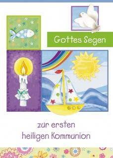 Glückwunschkarte Gottes Segen zur Erstkommunion (6 St) Taube Segelboot Sonne