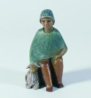 Gelenberg Krippe Hirte sitzend Schaf bemalt 18 cm Krippen Figur Weihnachten - Vorschau