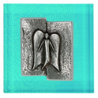 Wandrelief Engel Glas 8 cm mit Plakette Neusilber Wandbild Deko