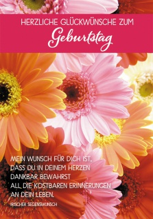 Postkarte Herzliche Glückwünsche zum Geburtstag (10 St) Blumen Grußkarte