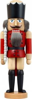 Nussknacker König Esche lasiert rot 39 cm Holz-Figur Handarbeit Erzgebirge