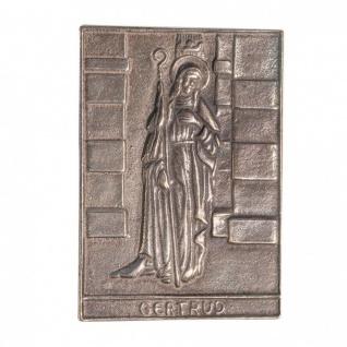 Namenstag Gertrud 8 x 6 cm Bronzeplakette Bronzerelief Wandbild Schutzpatron