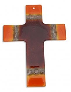 Kreuz aus Glas rot orange Fusing Glas Kreuz Handarbeit 16 cm Wandkreuz Unikat
