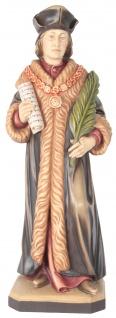 Heiliger Thomas Morus Holzfigur geschnitzt Südtirol Schutzpatron