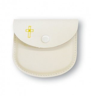Rosenkranz Etui Leder weiß Kreuz Kommunion Schmucketui Tasche