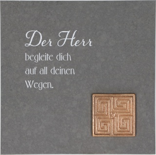 Wandrelief Labyrinth Gott Schiefer Bronze Geschenkverpackung Aufhängung