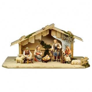 Hirten Krippe Set 9 Teile Holzfigur geschnitzt Südtirol Weihnachtskrippe