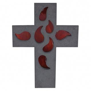 Wandkreuz Schiefer Kreuz Glas farbig 20 cm Schmuckkreuz Kruzifix Christlich