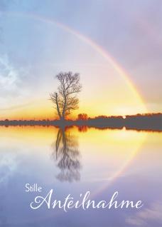 Trauerkarte Stille Anteilnahme Lutherbibel (6 St) Baum und Regenbogen Kuvert