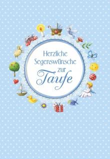 Taufkarte Bube Herzliche Segenswünsche zur Taufe (6 Stck) Glückwunsch Kuvert