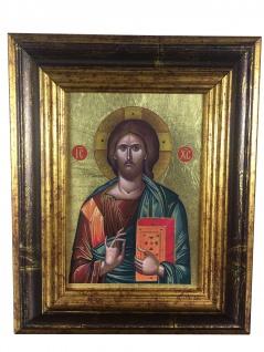Ikone Christus Pantokrator 18 x 22 cm Griechenland Leinwand Holzrahmen