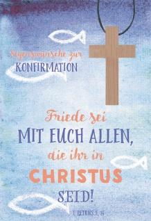 Glückwunschkarte Segenswünsche zur Konfirmation (5 St) mit Kreuz Holzanhänger