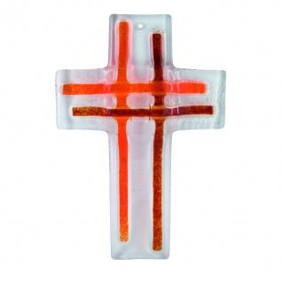 Glaskreuz Streifen orange Fusing Glas Kreuz Handarbeit 16 cm Wandkreuz Unikat