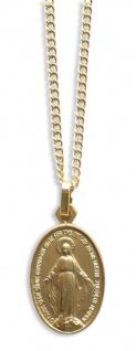 Maria Empfängnis Medaille goldfarben oval 1, 9 cm mit Kette Religiöser Schmuck