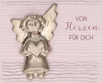 Handschmeichler von herzen für dich Feinmetall Engel Herz 3, 7 cm