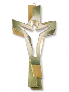 Holzkreuz Christus geschnitzt grün gold bemalt 22 cm Südtiroler Schnitzkunst