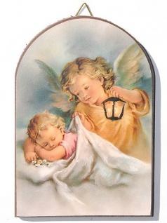 Schutzengel Bild Baby mit Engel 15 x 10 cm Engel bewacht das Kind Halbrund