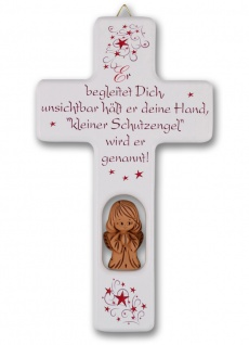 Kinderkreuz Tonengel Er begleitet Dich 20 cm Wandkreuz Holzkreuz
