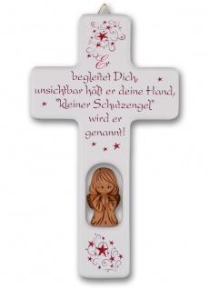 Kinderkreuz weiss Tonengel Naturholz Text Er begleitet Dich.. 20cm Wandkreuz Ton