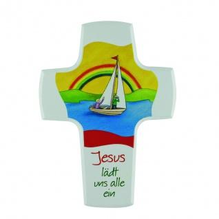 Kinderkreuz Jesus lädt uns alle ein 15 cm Holzkreuz Kreuz Kommunion