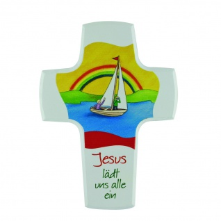 Kreuz für Kinder Jesus lädt uns alle ein 15 cm Kruzifix Holz-Kreuz Geschenkbox