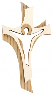 Wandkreuz Auferstehung Kruzifix Holzkreuz Kreuz 2 farbig gebeizt