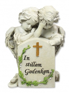 Engelpaar am Stein trauernd In stillem Gedenken 17 cm