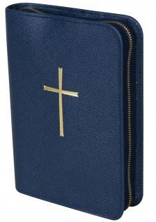 Gotteslobhülle Kreuz Gold Rindleder Blau Gesangbuch Einband Katholisch