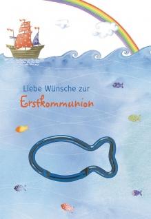 Glückwunschkarte blauer Fisch-Karabinerhaken (5 Stck) Grußkarte Erstkommunion
