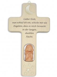 Kinderkreuz Tonengel Mond Sterne Holzkreuz Lieber Gott 12 cm Wandkreuz