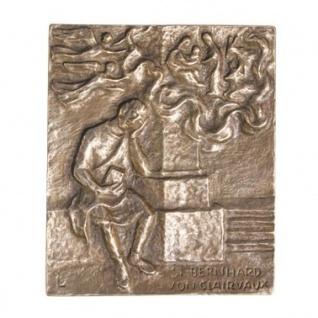 Namenstag Bernhard von Clairvaux 13 x 10 cm Bronzerelief Wandbild Schutzpatron