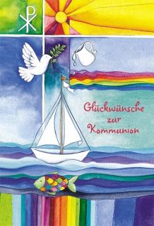 Kommunionkarte Glückwünsche zur Kommunion (6 St) Grußkarte Erstkommunion Kuvert