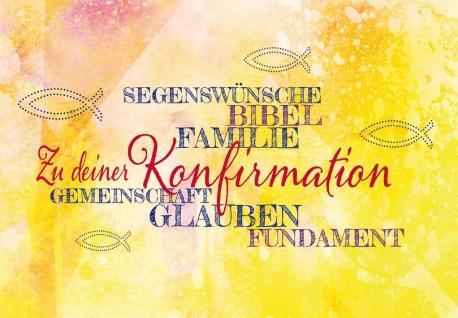 Glückwunschkarte Konfirmation 6 St Kuvert Segens-Wünsche Glauben Fundament Bibel