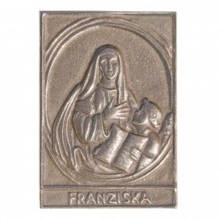 Namenstag Franziska 8 x 6 cm Bronzeplakette Bronzerelief Wandbild Schutzpatron