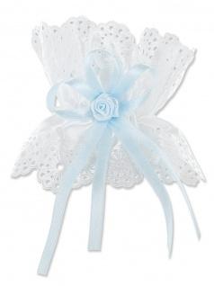 Kerzenröckchen Satin weiß 10 cm Schleife Blau Blumen für Taufkerzen Buben