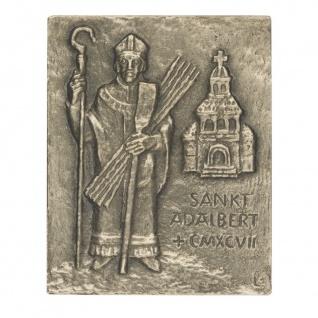 Namenstag Adalbert 13 x 10 cm Bronzerelief Wandbild Schutzpatron