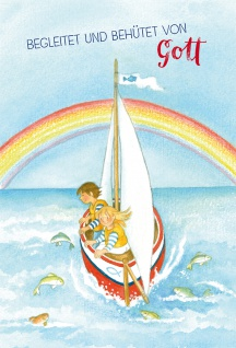 Glückwunschkarte zur Kommunion Begleitet und behütet von Gott mit Kuvert 6 Stück