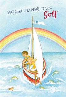 Glückwunschkarte zur Kommunion Begleitet und behütet von Gott mit Kuvert 6 Stk