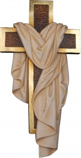 Auferstehungskreuz Holz Kreuz mit Leintuch geschnitzt Südtirol Kruzifix