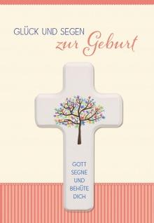 Glückwunschkarte Geburt Holz-Kreuz Lebensbaum Wunder Herz Liebe Baby Gott Schutz