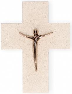 Wandkreuz Naturstein Korpus Jesus Bronze Kreuz 17 cm Kruzifix Christlich