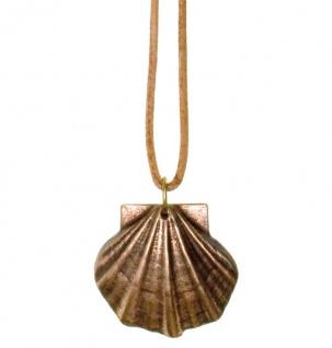 Jakobsweg Anhänger Bronze 3, 6 x 4 cm Lederband