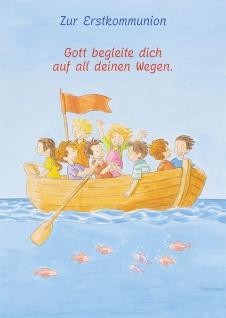 Kommunionkarte Kinder Boot Zur Erstkommunion (6 Stck) Glückwunschkarte Kommunion