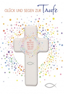 Glückwunschkarte Taufe Holz-Kreuz Kuvert Bibelwort Glück Segen Schutz