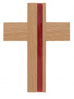 Wandkreuz Holzkreuz Buche massiv Kreuz Metall Inlay rot 10 cm Kruzifix
