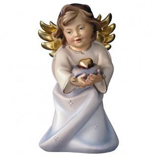 Herzengel mit Herz Holzfigur geschnitzt Engelfigur Südtirol