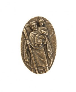 Autoplakette Christophorus 5 cm Bronze Christophorus Plakette