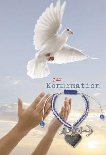 Konfirmation Grußkarte Armband Glaube Liebe Hoffnung (5 Stck) Bibel Mose Kuvert